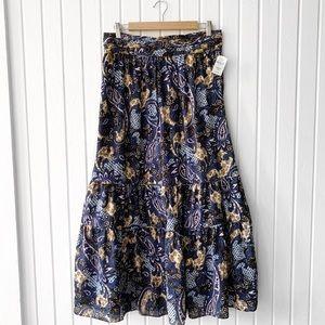 Walter Baker Tiered Paisley Midi A-Line Skirt